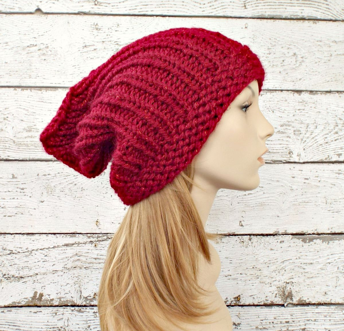 b8f53adaeed Red Womens Hat Slouchy Hat - Quinn Red Gnome Beanie - Poinsettia Red Knit  Hat - Red Hat Red Beanie Red Gnome Hat Womens Accessories