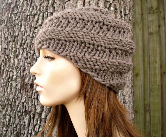 Knit Hat Womens Hat - Swirl Beanie in Taupe Brown Knit Hat - Taupe Hat Brown Hat Womens Accessories Winter Hat