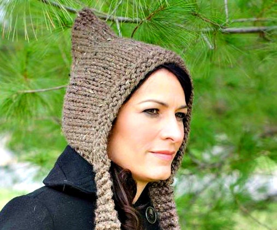 Chunky Knit Hat Women - Brown Pixie Hat in Barley Brown Knit Hat - Brown Hat Knit Accessories Winter Hat - 34 Color Choices