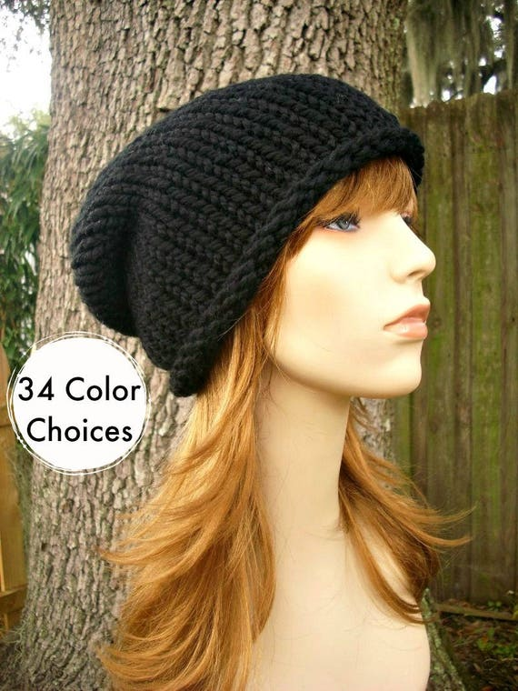 Knit Hat Womens Hat Rolled Brim Beanie in Black Knit Hat  c5641526e
