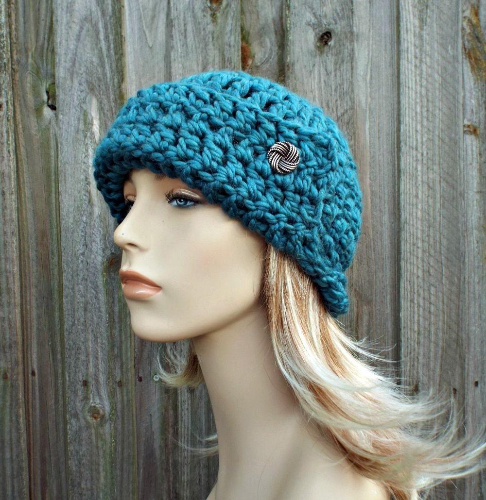 9c61ba88bf489 Teal Blue Crochet Hat Womens Flapper Hat - Garbo Cloche Hat - Teal Hat Teal Beanie  Blue Hat Blue Beanie Winter Hat - READY TO SHIP