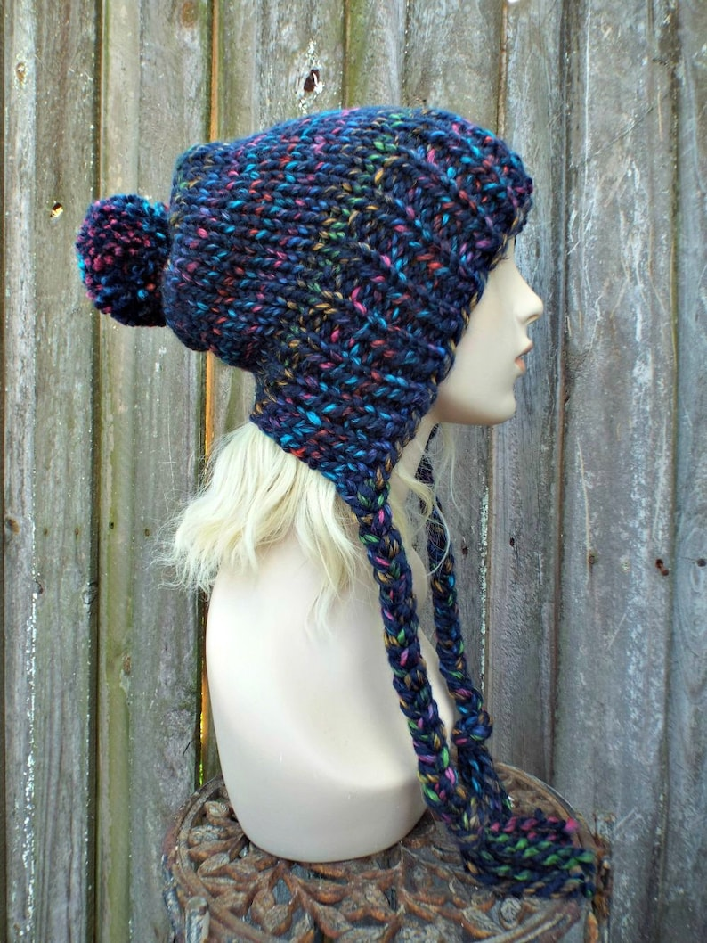 485c962f2f5 Chunky Knit Hat Womens City Lights Rainbow Slouchy Pom Pom Hat