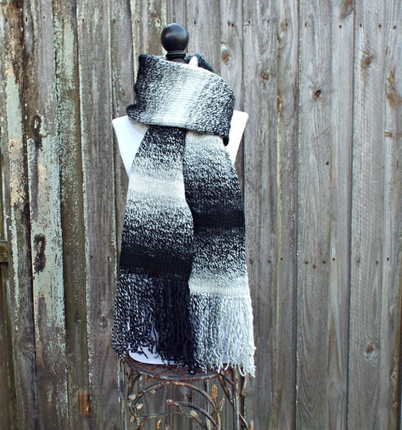Double Knit Scarf, Cream and Black Mens Scarf Black Womens Scarf Chunky Knit Scarf Black Scarf - Knit Accessories - 19 Color Choices