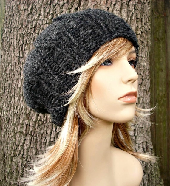 Womens Urchin Beret Hat in Charcoal Grey Chunky Winter Accessories Fall Fashion