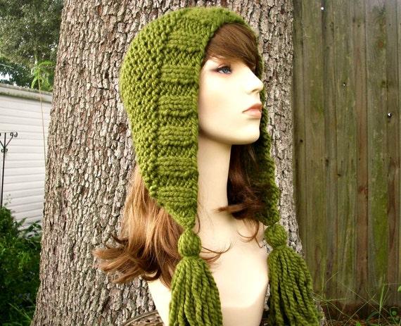 Knit Hat Womens Hat Knit Hood Green Ear Flap Hat - Tassel Hat in Olive Green Knit Hat - Green Hat Green Hood Womens Accessories Winter Hat