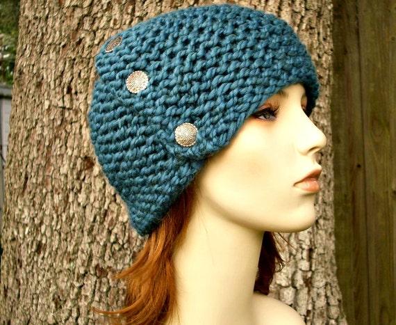 Knit Hat Womens Hat - Cardigan Beanie Hat in Teal Blue Knit Hat - Blue Hat Blue Beanie Teal Hat Teal Beanie  Womens Accessories Winter Hat