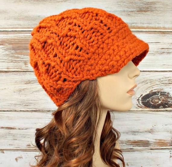 Chunky Knit Hat Womens Hat Orange Newsboy Hat - Amsterdam Beanie Orange Knit Hat Orange Hat Orange Beanie Womens Accessories