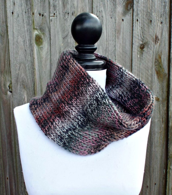 Double Knit Circle Scarf Womens Scarf - Pink Grey Cowl Pink Grey Scarf - Cowl Scarf Womens Accessories Fall Fashion - READY TO SHIP