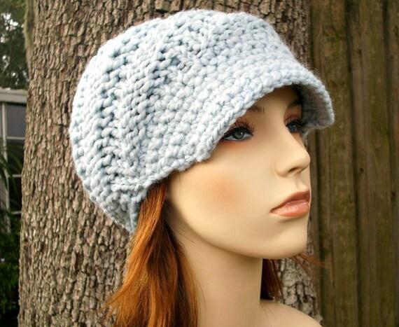 Blue Newsboy Hat Chunky Knit Hat Womens Hat - Swirl Beanie with Visor in Mystical Blue Metallic - Blue Hat Blue Beanie Womens Accessories