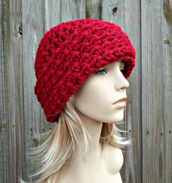Cranberry Red Womens Hat Red - Wide Cuff Beanie Hat Crochet Hat - Red Hat Red Beanie Womens Accessories Winter Hat - READY TO SHIP