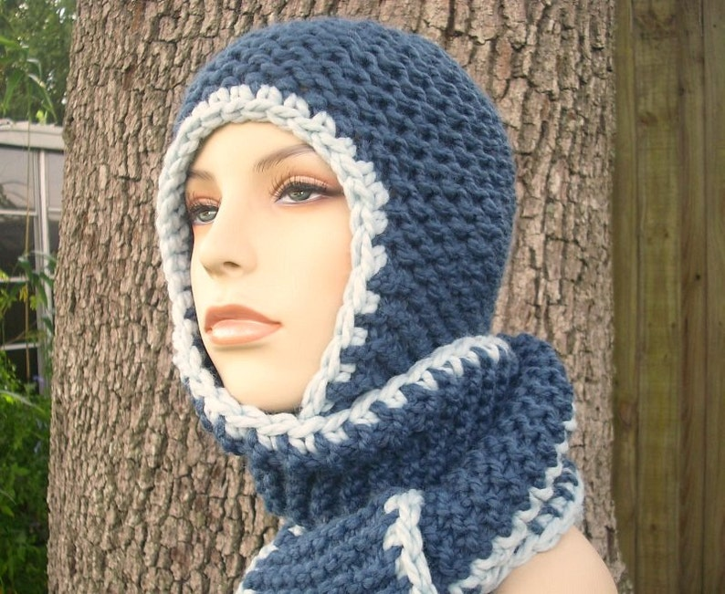c4af35abba1 Blue Hooded Scarf Chunky Knit Hat Womens Hat Garter Nomad