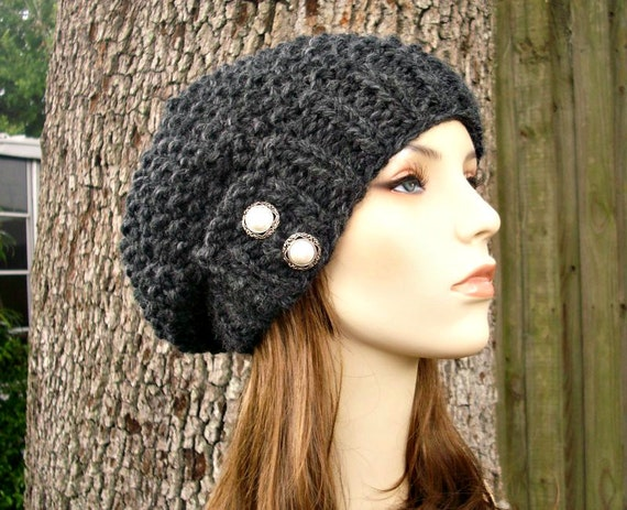 Charcoal Grey Beret Womens Knit Hat - Seed Beret Chunky Knit - Grey Hat Grey Beret Grey Beanie - Knit Accessories