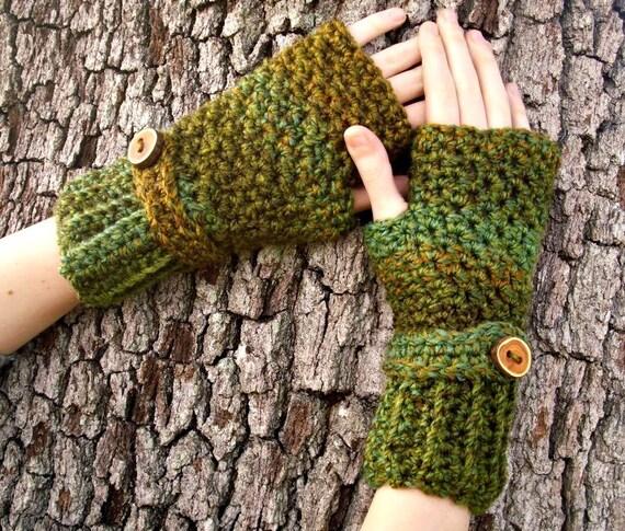 Crocheted Fingerless Gloves Mittens - Green Fingerless Gloves in Ozark Forest Green - Green Gloves Green Mittens Womens Accessories