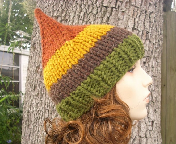 Knit Hat Womens Hat - Gnome Hat in Vermont Hamlet Green Brown Yellow Rust Knit Hat - Womens Accessories Winter Hat
