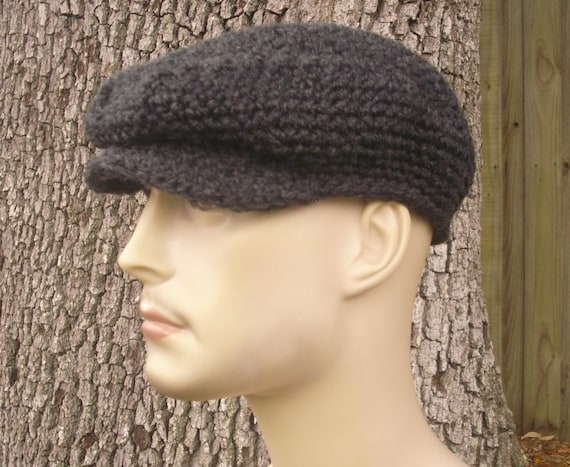 Crochet Hat Grey Mens Hat Grey Womens Hat Grey Newsboy Hat - Golf Hat Flat Cap in Charcoal Grey Crochet Hat Grey Hat