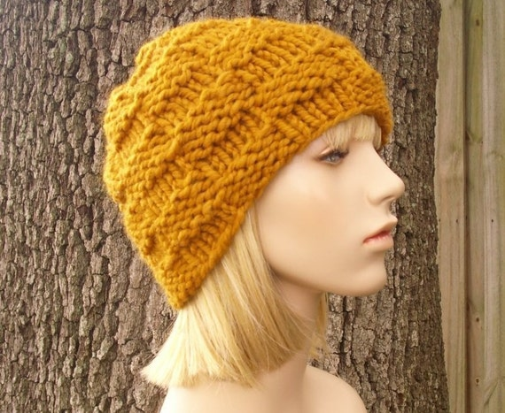 Knit Hat Womens Hat - Basket Weave Beanie in Mustard Yellow Knit Hat - Yellow Hat Yellow Beanie Mustard Hat Womens Accessories Winter Hat