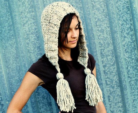Chunky Knit Hat Women Hat Oatmeal Hood Oatmeal Ear Flap Hat - Oatmeal Tassel Hat - Oatmeal Knit Hat - Knit Accessories