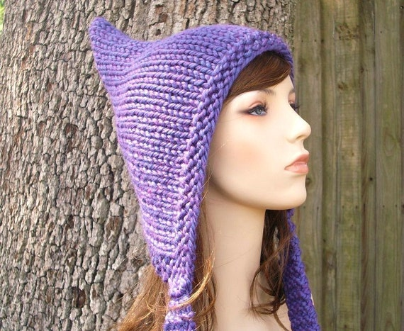 Knit Hat Womens Hat - Purple Pixie Hat Violet Purple Knit Hat - Purple Hat Purple Ear Flap Hat Womens Accessories Winter Hat