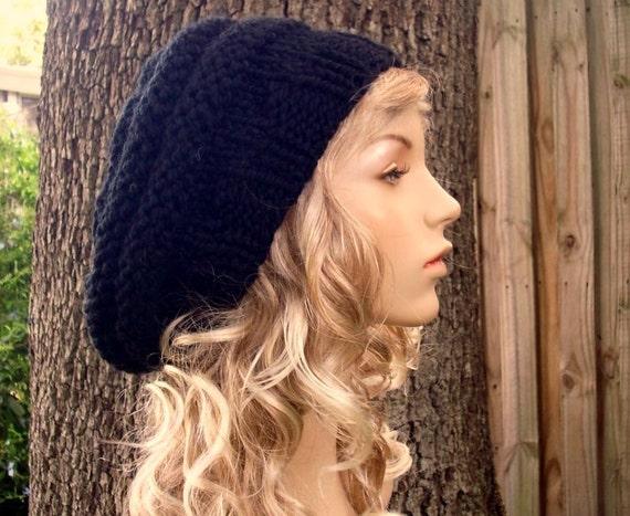 Knit Hat Black Womens Hat - Original Beehive Beret Hat in Black Knit Hat - Black Hat Black Beret Black Beanie Womens Accessories Winter Hat