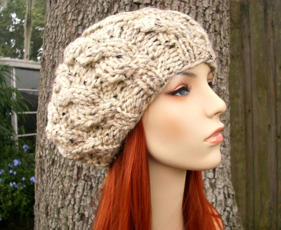 Oatmeal Cable Beret Chunky Knit Hat Womens Hat Cable Hat  a3a1886d8ed