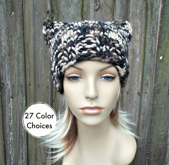 Chunky Knit Hat Womens Desert Camo Cat Beanie - Desert Knit Hat Desert Hat Desert Beanie Desert Cat Hat Winter Hat - 27 Color Choices