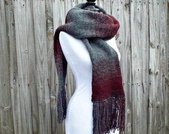 Oversized Scarf Mens Scarf Winter Scarf Womens Scarf - Double Knit Scarf With Fringe - Fall Fashion Winter Accessories