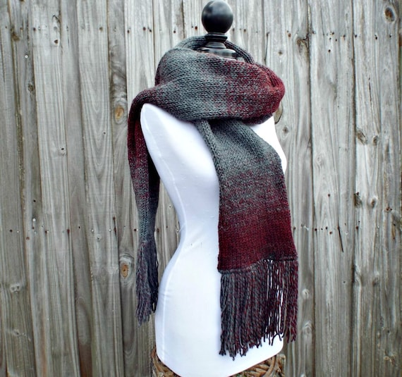 Double Knit Scarf With Fringe, Oxford Grey and Claret Wine Scarf, Mens Scarf, Womens Scarf, Thick Winter Scarf Grey Scarf - 19 Color Choices