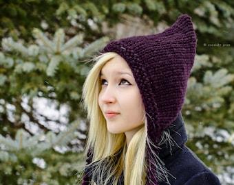 Knitted Hat Pattern Pixie Hat Knitting Pattern - Chunky Knit Hat Womens Winter Hats Woodland Hooded Bonnet Knit Beanie