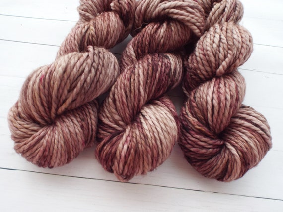 Hand Dyed Yarn 100% Superwash Merino Yarn Bulky Weight Yarn - 109 Yards Tonal Yarn Brown Yarn Taupe Yarn Chocolate Yarn - Iced Mocha