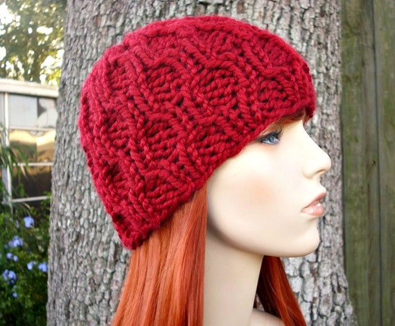 Knit Hat Red Womens Hat - Amsterdam Cable Beanie in Cranberry Red Knit Hat - Red Hat Red Beanie Womens Accessories Winter Hat