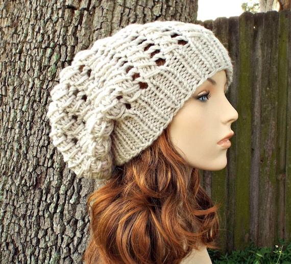 Cream Linen Womens Hat Slouchy Beanie - Spring Cyclone Beret Cream Linen Knit Hat - Cream Hat Womens Accessories Winter Hat