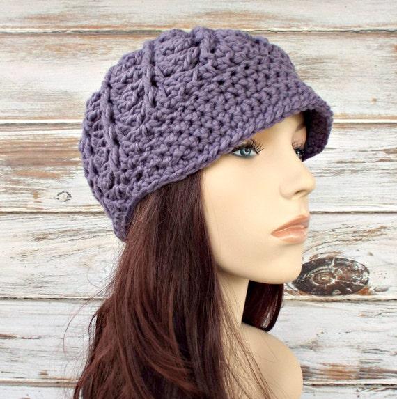 Crochet Hat Purple Womens Hat Purple Newsboy Hat - Pippa Swirl Crochet Newsboy Hat in Violet Purple Crochet Hat - Womens Accessories
