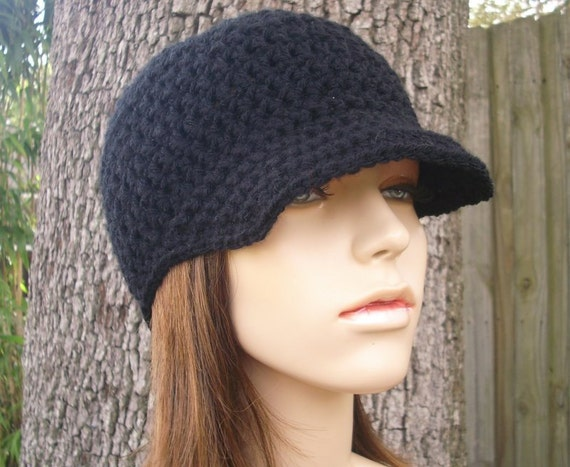 Crochet Hat Womens Hat Black Newsboy Hat - Skater Boy Cap in Black Crochet Hat - Black Hat Black Beanie Womens Accessories