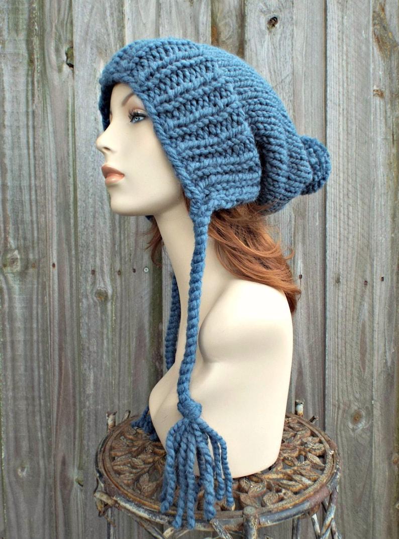 b39565d2c38 Denim Blue Slouchy Hat Knit Ear Flap Beanie with Pom Pom
