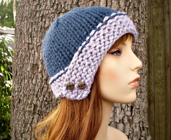 Blue and Grey Womens Hat - Cloche Hat in Heather Grey and Denim Blue Knit Hat - Blue Hat Grey Hat Womens Accessories Warm Winter Hat
