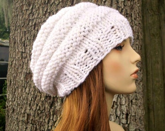 Knit Hat Womens Hat - Original Beehive Beret Hat in Celebration White Knit Hat White Hat White Beret Womens Accessories - READY TO SHIP