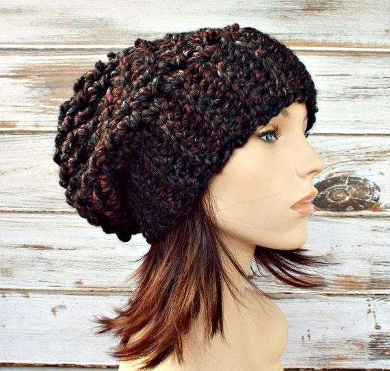 Crochet Hat Womens Hat Slouchy Hat - Souffle Beret Blackstone Black Charocoal Grey Wine - Grey Hat Black Hat Womens Accessories Winter Hat