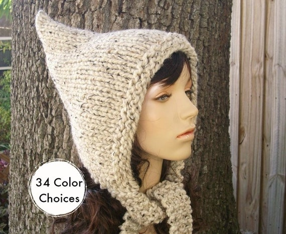 Chunky Knit Hat Oatmeal Womens Hat - Oatmeal Pixie Hat Oatmeal Knit Hat - Oatmeal Hat Oatmeal Pixie Hood Winter Hat - 34 Color Choices