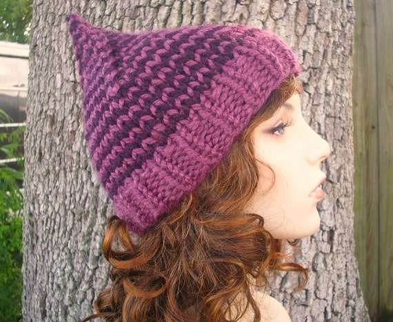 af87bc587db Knit Hat Womens Hat Purple Gnome Hat in Plumrose Purple Knit