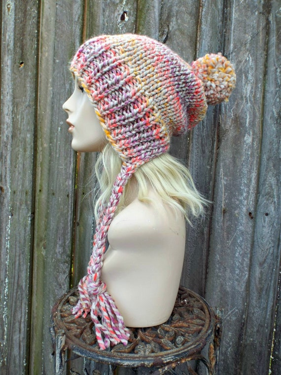 f2305dceb0b Chunky Knit Hat Womens Orchid Coral Slouchy Pom Pom Hat Ear