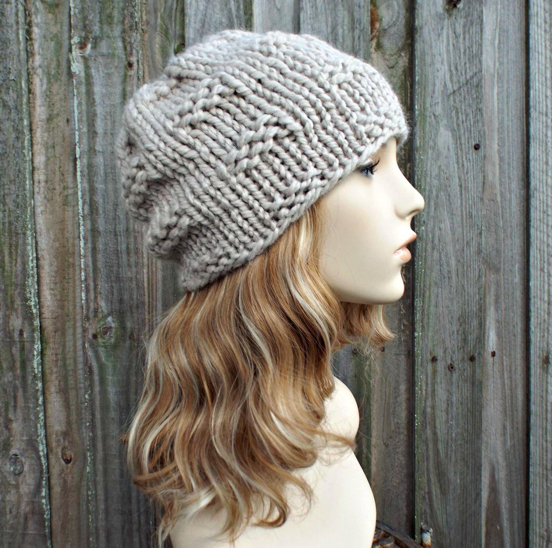 cda788e1abd29 Chunky Knit Hat Womens Fall Fashion Warm Winter Hat Knit Accessories - Texture  Slouchy Beanie Cream Hat Cream Beanie - READY TO SHIP