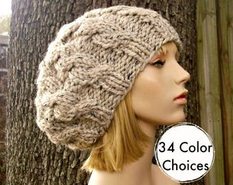 Knit Hat Womens Hat Slouchy Hat - Oatmeal Cable Beret Hat in Oatmeal Knit Hat - Oatmeal Hat Chunky Knit Hat - 34 Color Choices