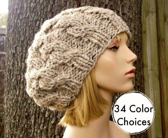 Knit Hat Womens Hat Slouchy Hat - Oatmeal Cable Beret Hat in Oatmeal Knit Hat - Oatmeal Hat Chunky Knit Hat
