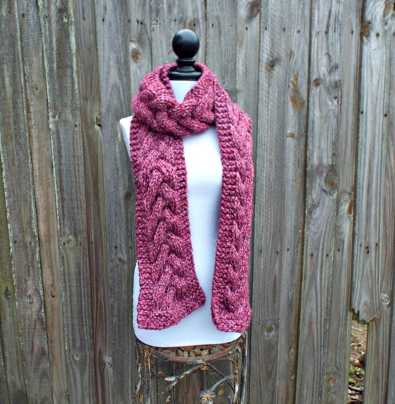 Wild Strawberry Pink Cable Scarf, Extra Long Scarf, 7 Foot Scarf, Pink Knit Scarf, Pink Scarf, Pink Winter Scarf, Pink Womens Scarf