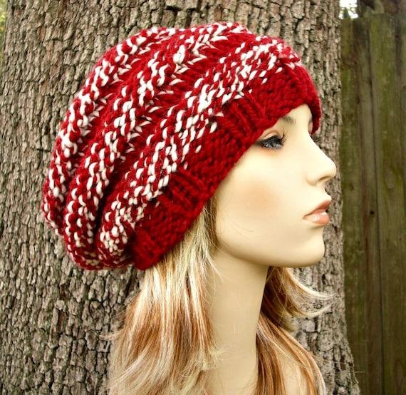 Knit Hat Red Womens Hat - Original Beehive Beret Hat in Red White Knit Hat Red Hat Red Beanie Red Beret Womens Accessories