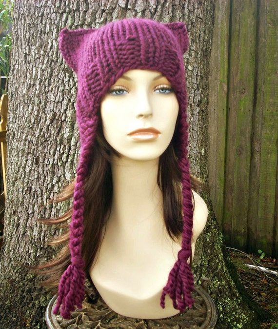 Knit Hat Womens Hat - Braided Ear Flap Cat Hat in Red Violet Purple Dark Pink Knit Hat - Pink Cat Hat Pink Pussyhat Pink Pussy Hat