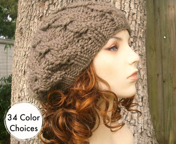 Chunky Knit Hat Womens Hat Cable Beret Hat Brown Taupe Knit  b888221fecf