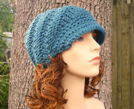 Knit Hat Blue Womens Hat Teal Blue Newsboy Hat - Swirl Beanie with Visor in Teal Blue Knit Hat - Blue Hat Blue Beanie Womens Accessories