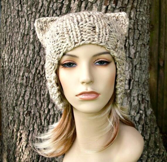 Oatmeal Ear Flap Hat Cat Beanie Knit Hat Womens Hat - Oatmeal Hat Oatmeal Beanie Oatmeal Cat Hat Womens Accessories Winter Hat
