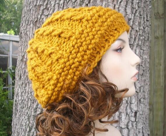 Mustard Womens Hat - Big Rasta Thumb Cable Beret Hat Mustard Yellow Knit Hat - Mustard Hat Mustard Beret Yellow Beanie Womens Accessories